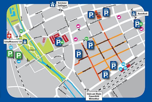 Übersicht: Parkhäuser und Parkplätze in Singen